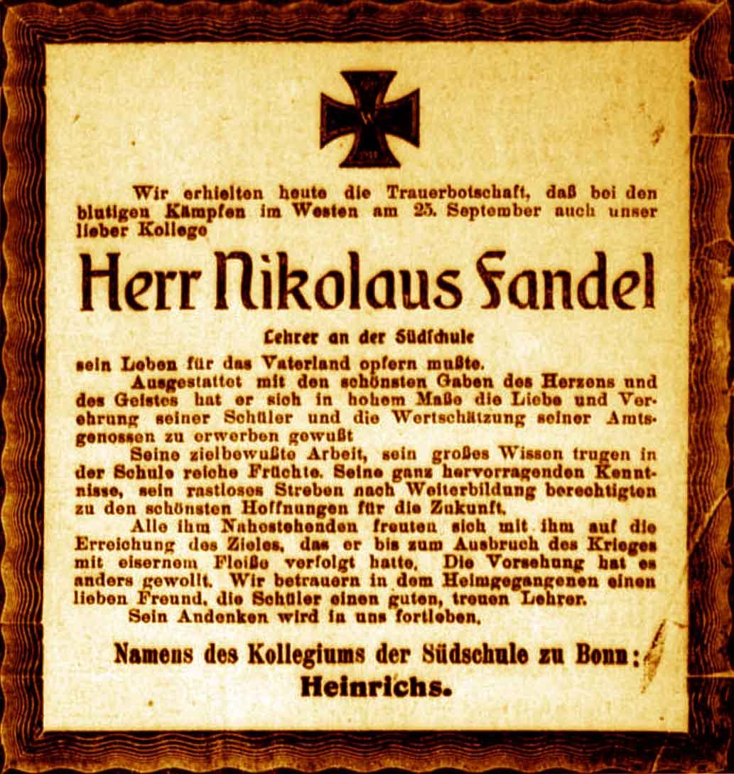 Oktober 1915 Anzeige Im General Anzeiger Vom 17. Oktober 1915