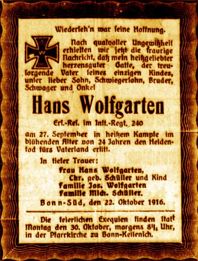 Anzeige Im General Anzeiger Vom 22. Oktober 1916